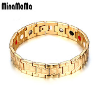 Healing Magnetic Bracelet Men 316L Stainless Steel 3 Health Care Elements Magnetic FIR Germanium Gold Color