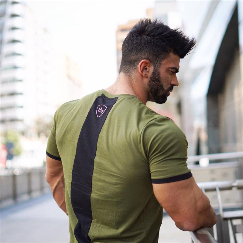 New men cotton Short sleeve   t     shirt   Fitness bodybuilding   shirts   Crossfitsmale Brand tee tops Fashion gyms   t  -  shirt   mens costume
