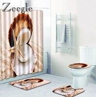Zeegle Starfish Pattern Microfiber Bath Mat and Shower Curtain 4pcs Floor Carpet Anti Slip Toilet Rug Water Absorbing Bath Mats