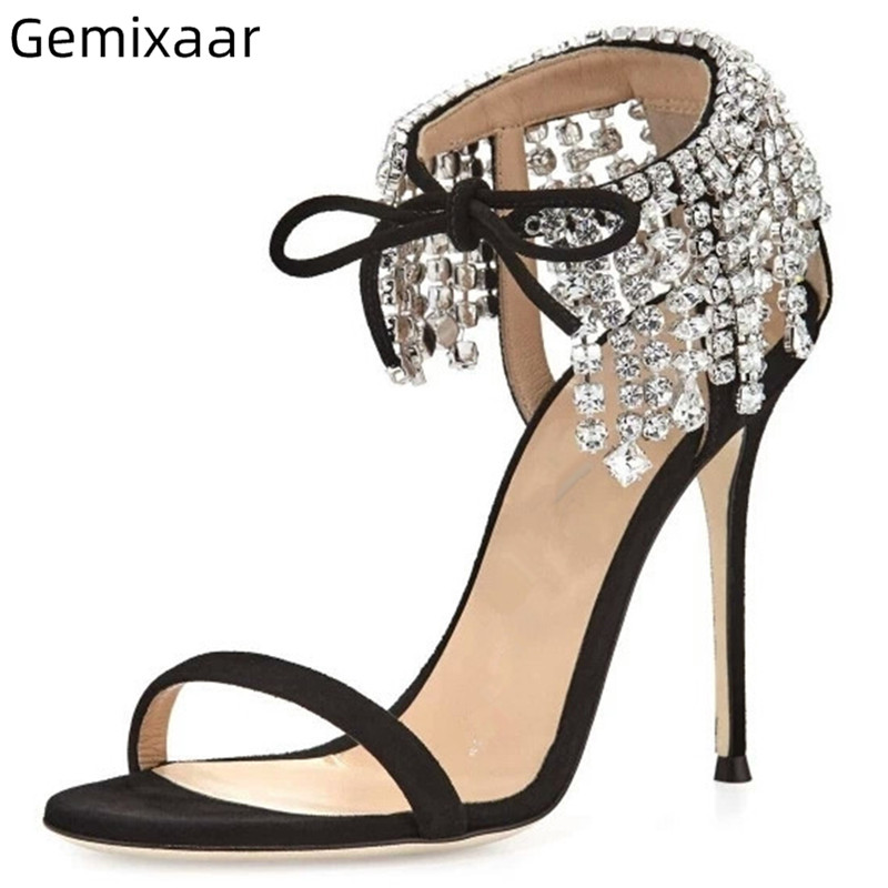 Tassel Crystal Sandals Shoes Woman One Strap Thin High Heel Sandalias Sexy Narrow Band Lace Up Comfy Sheepskin Sandals SandalesTassel Crystal Sandals Shoes Woman One Strap Thin High Heel Sandalias Sexy Narrow Band Lace Up Comfy Sheepskin Sandals Sandales