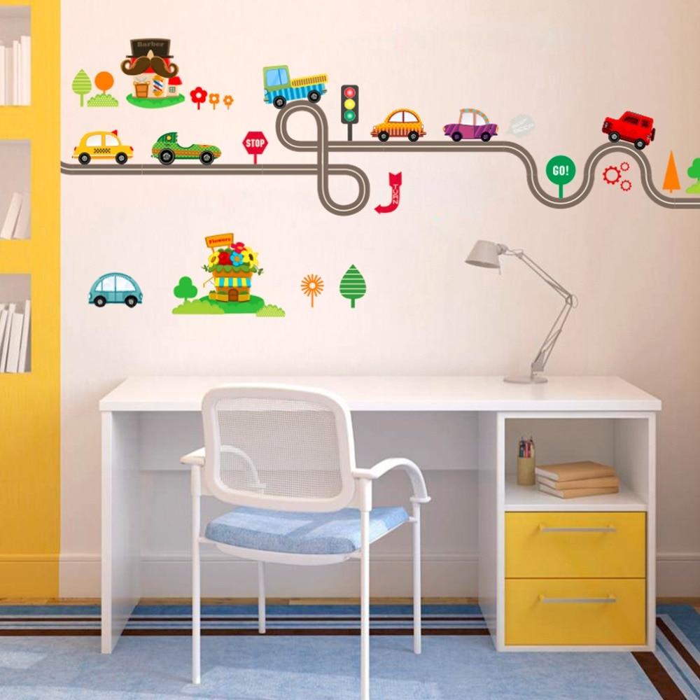Bedroom Wall Coverings 2017: 2017 Creative Cute Cartoon Cars Baby Children Bedroom Room