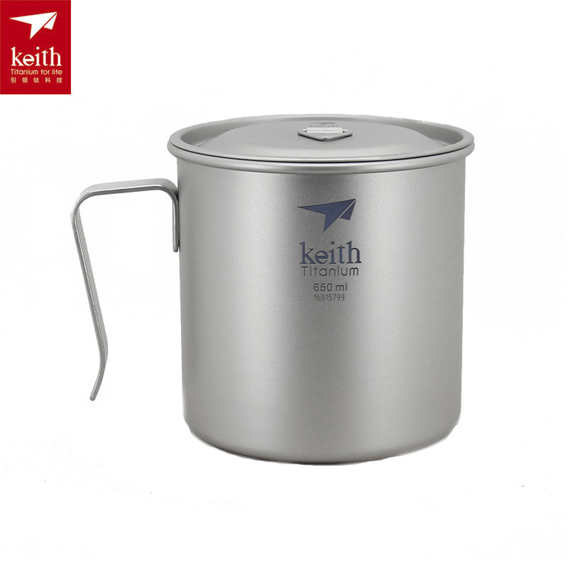 ФОТО Keith Ti3268 Titanium Cup Titanium Coffee Cup single-walled With Cover Ultralight Portable Tableware 650ml