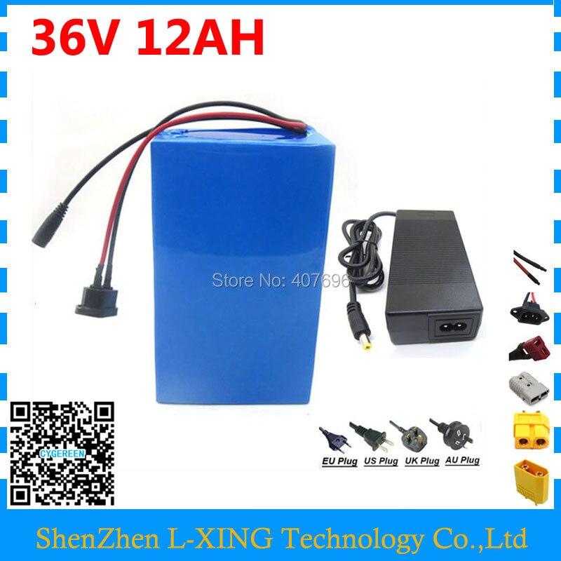 Batterie Rechargeable 36 volts 500 W 36 V 12AH batterie de vélo électrique 12ah 36 v utilisation de la batterie 15A BMS 2A chargeur frais de douane gratuits