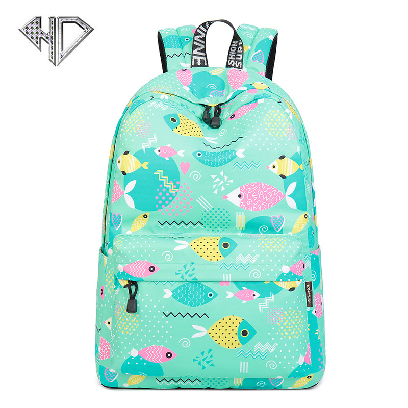 women Lovely fish printing backpacks backpack for women and men rucksack fashion canvas bags retro casual school bags travel bag