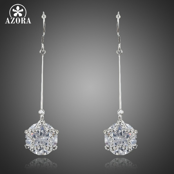 AZORA Dangling Five-pointed Star With Clear Cubic Zirconia Drop Earrings for Women TE0223