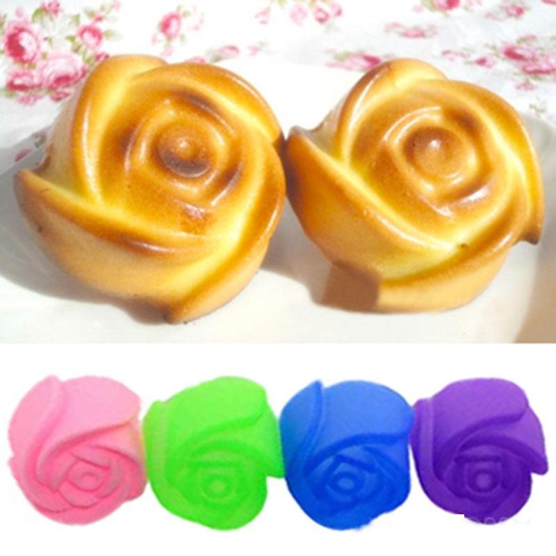 <font><b>Hot</b></font> <font><b>Sale</b></font> 5Pcs <font><b>Silicone</b></font> <font><b>Rose</b></font> <font><b>Muffin</b></font> <font><b>Cookie</b></font> <font><b>Cup</b></font> Cake Baking Mould Chocolate Maker