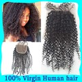 Virgin Brazilian Kinky Curly Closure Bleached Knot 7A Unprocessed Human Hair Brazilian Curly Closure Free/3/Middle Part Closures