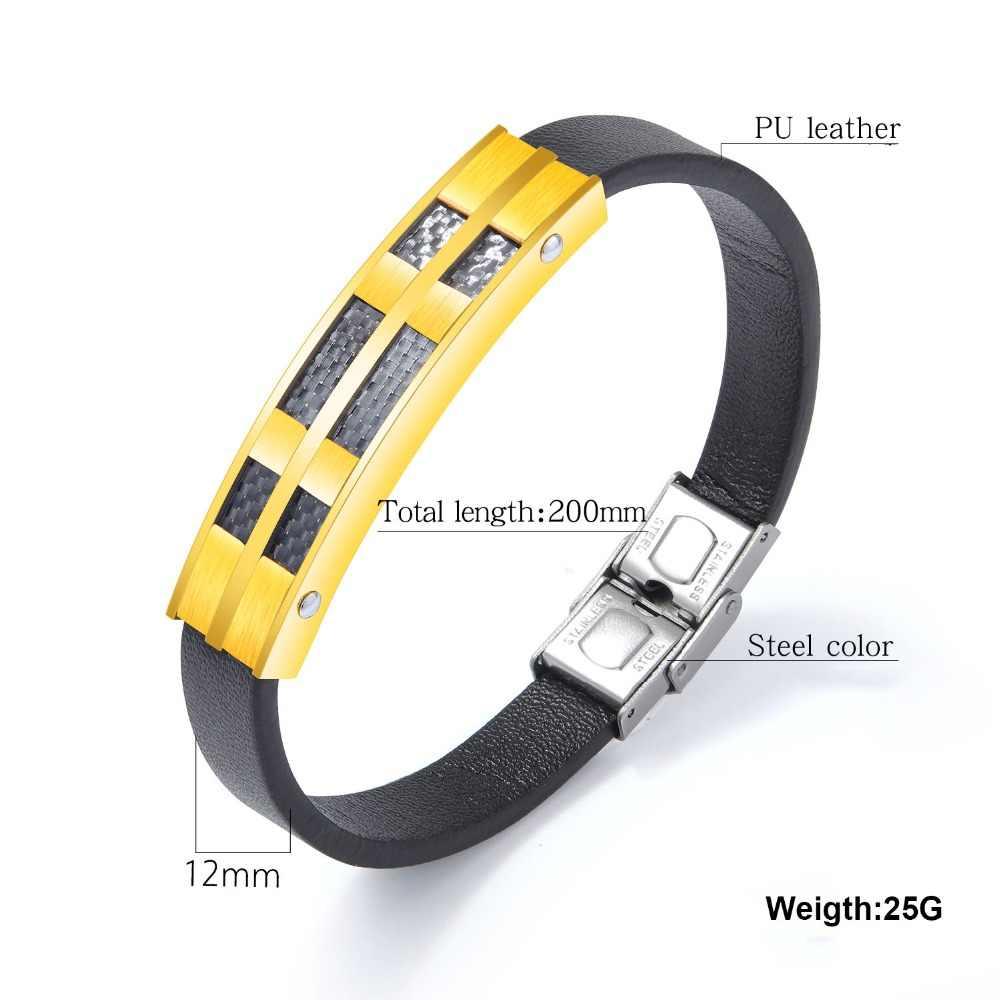 Geometryczne skórzane bransoletki dla mężczyzn bransoletki ze stali nierdzewnej i bransolety moda męska biżuteria punkowa prezent dla niego (BA102349)