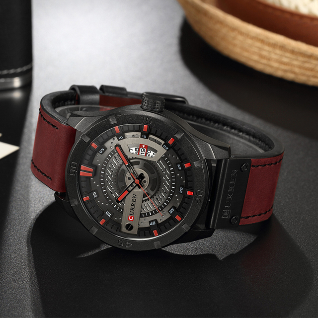 CURREN Luxury Genuine Leather Quartz Wrist Watch 3