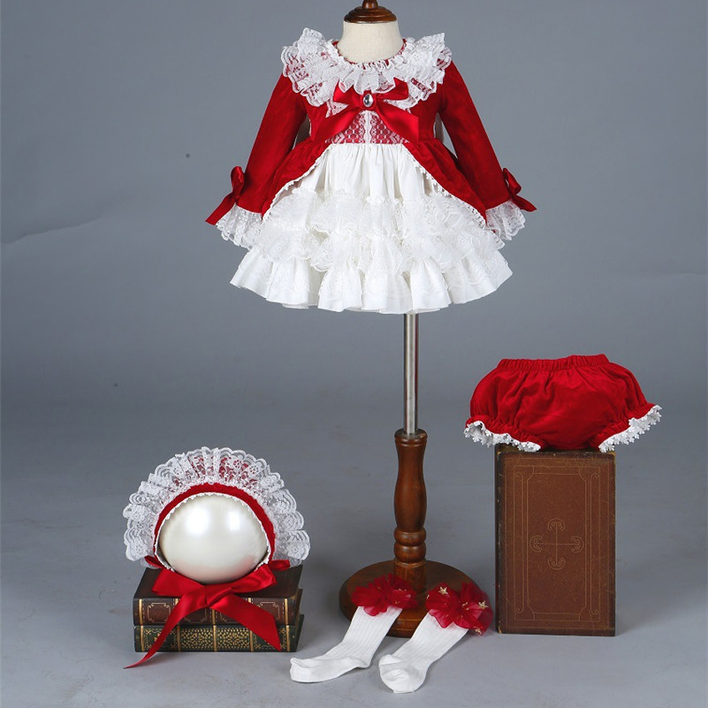 Wholesale 4PCS Set Spanish Dress Velvet Autumn Winter Girl Vintage Pompon Ball Princess Dress Lolita Christmas Party Dress G025 in Dresses from Mother Kids