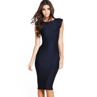 Elegant Women Wedding Party Sexy Low V Back Strip Stretchy Bandage Bodycon Knee Length Casual Pencil