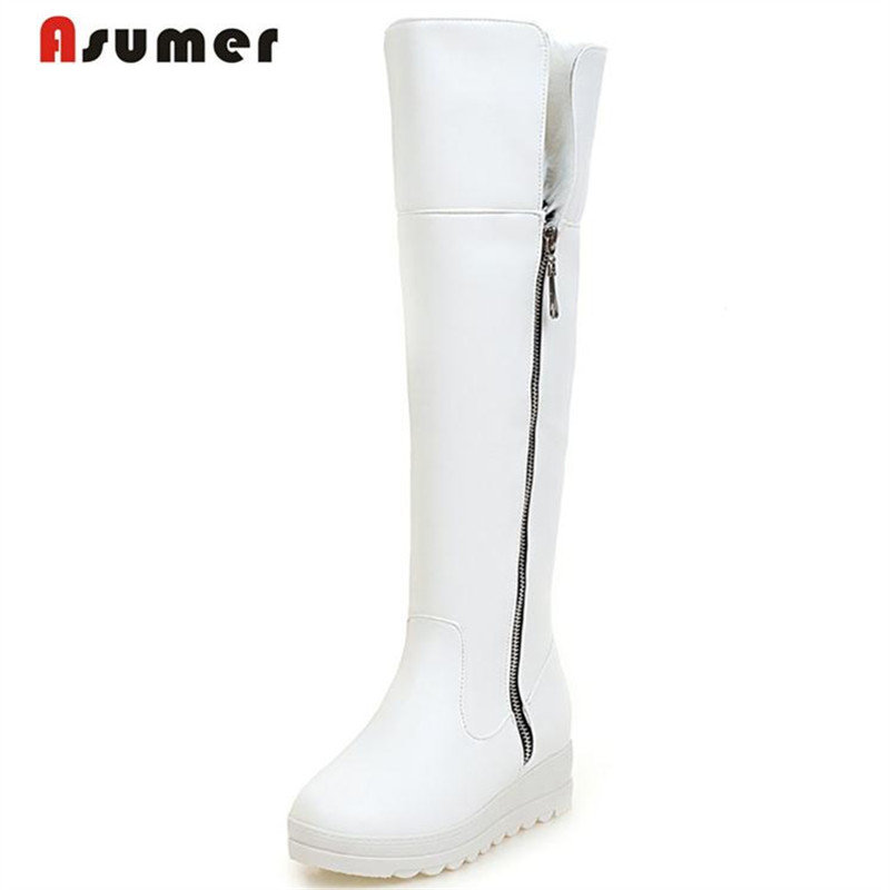 ФОТО Asumer Knee high boots winter warm comfortable long boots for women platform shoes big size 43 solid snow boots