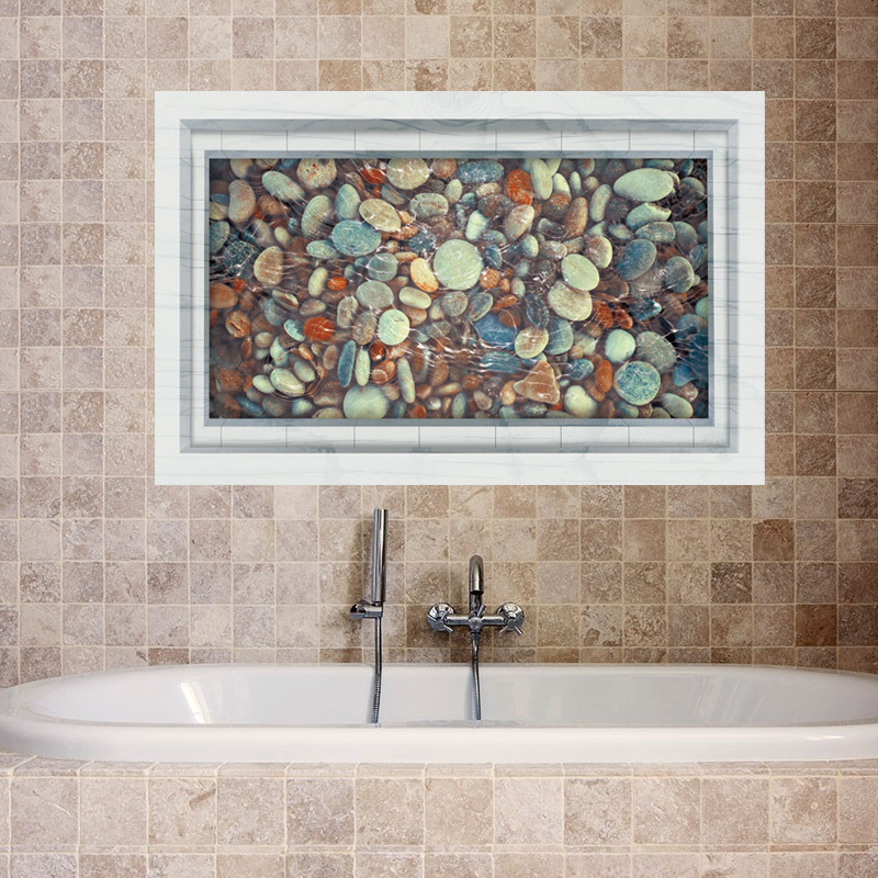 1PC 60*90cm 3D Waterproof Cobble Wall Stickers For Bathroom Floor Kitchen  Oilproof Decorative Removable PVC Wall Decals