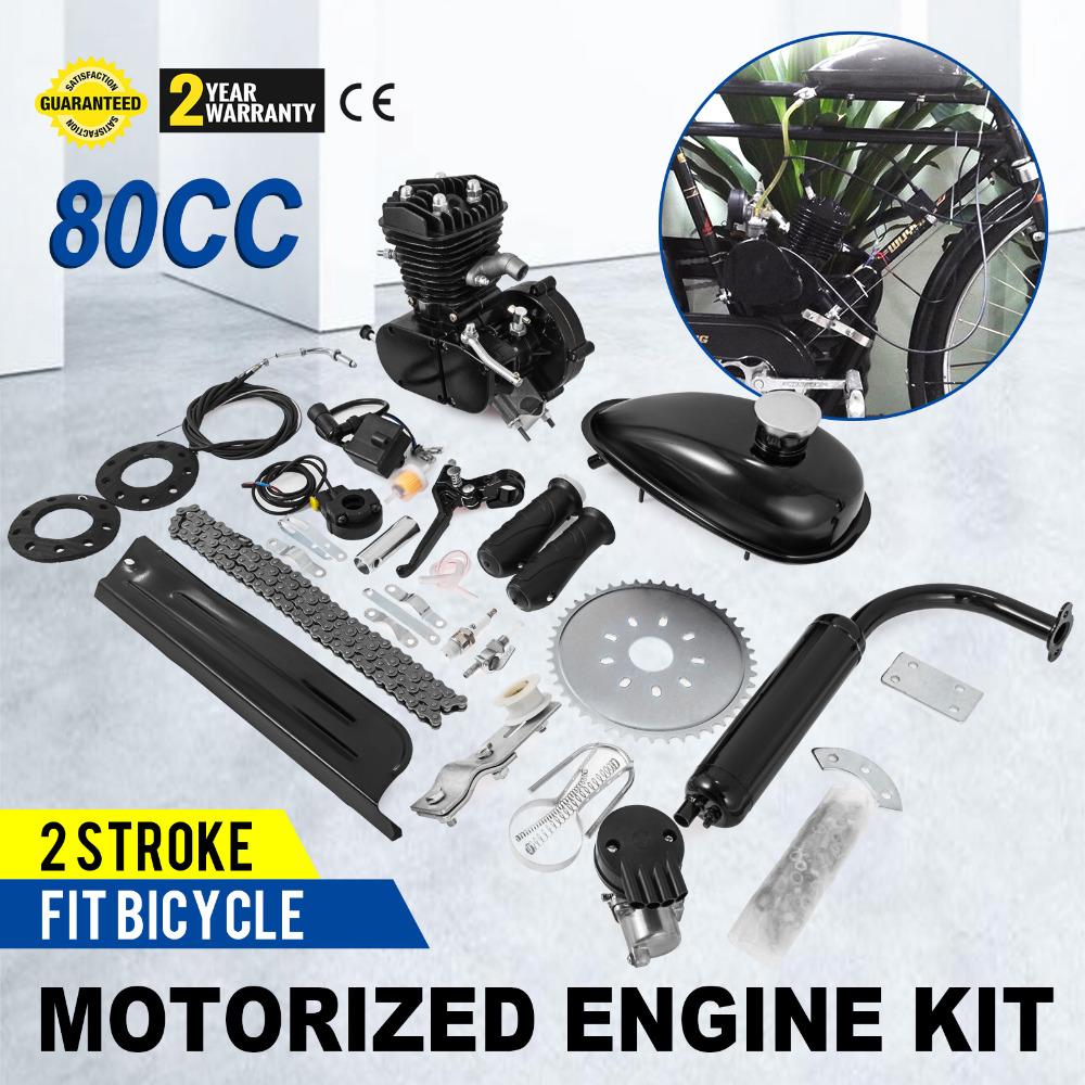 Brand New 80cc 2 Stroke Cycle Bike Bicycle Motorized Engine Kit BLACK Motor Chrome Muffler image