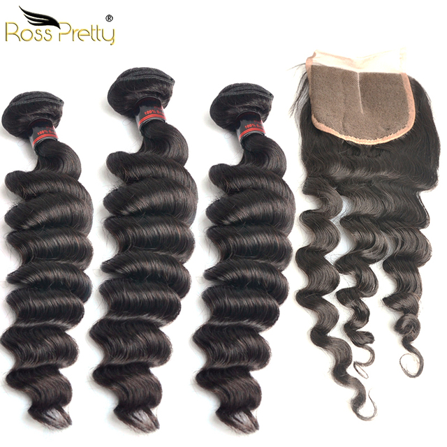 Ross Pretty Remy Brazilian Hair Bundles With Closure Loose Deep Natural Color black Human Hair Weave with Lace Closure