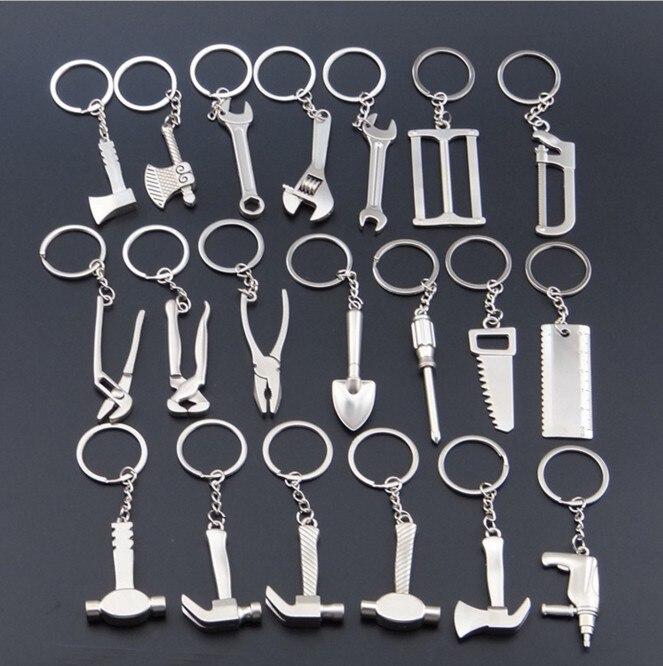 2PCS SET Vintage Simulation Tool Key Rings Trinket Wrench Keychain Stainless Steel Key Holder Key Chains