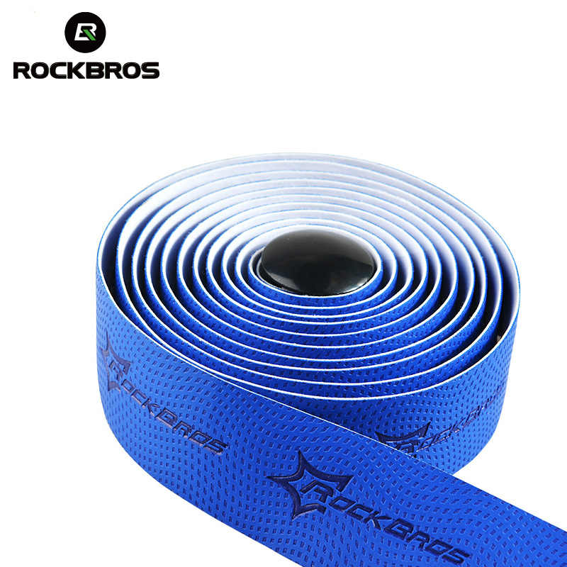Cinta para manillar de ciclismo ROCKBROS, cinta adhesiva para manillar deportivo de corcho para bicicleta de carretera, cinta EVA para barra doblada y tapón de 2 barras