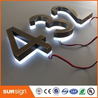 Custom Home Decor Stainless Steel LED Light Numbers House