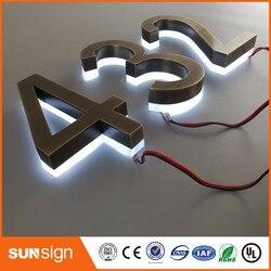 Casa de números de luces LED de acero inoxidable para decoración del hogar personalizada