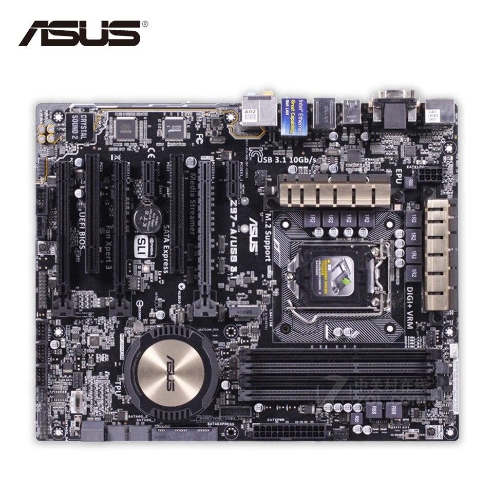 Asus Z97-A USB3.1 Desktop Motherboard Z97 Socket LGA 1150 i7 i5 i3 DDR3 32G SATA3 USB3.0 ATX Second-hand High Quality цены онлайн