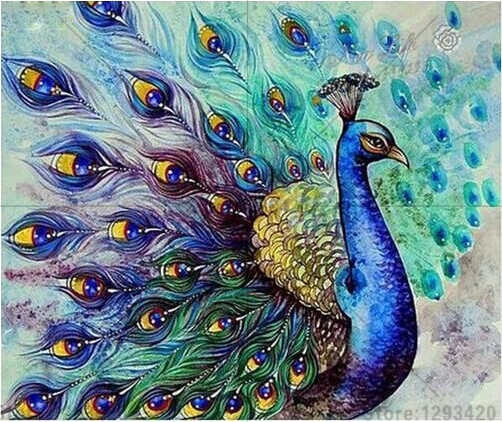 Diy 5D diamond painting Animal Beautiful peacock cross stitch crystal Full mosaic square rhinestone embroidery decoration gift