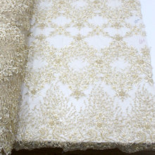 Gold French African Lace Fabric Guipure Beaded Cotton Cord Tulle Nigerian  Tissu Mesh India Lace For bc8f74539f2a