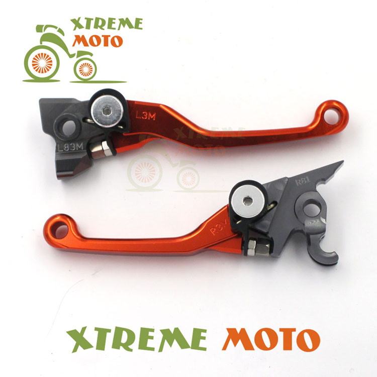 CNC Billet Pivot Foldable Brake Clutch Levers For KTM 250 SXF SX XC XCF 350 SXF XCF XCFW 400 XCW EXC 450 SMR SX SXF SXR XCRW orange cnc billet factory oil filter cover for ktm sx exc xc f xcf w 250 400 450 520 525 540 950 990