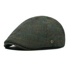 VOBOOM verde lana Tweed gorra plana hombres primavera Otoño Invierno hiedra  masculino elástico volver boina Cabbie Driver sombre. 28388a549d3