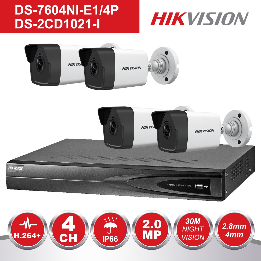 Hikvision 4CH NVR KIT 1080P CCTV System Record 2MP PoE IP Camera P2P Waterproof Outdoor IR