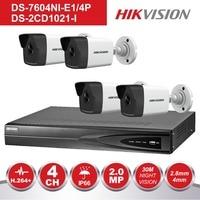 Hikvision 4CH NVR KIT 1080P CCTV System Record 2MP PoE IP Camera P2P Waterproof Outdoor IR Night Vision Video Surveillance KIT
