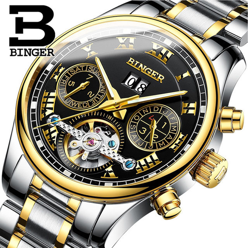 BINGER Men's Watches Top Brand Luxury Calendar Week Automatic Watch Men Tourbillon Watch Fashion Casual Business Wristwatch