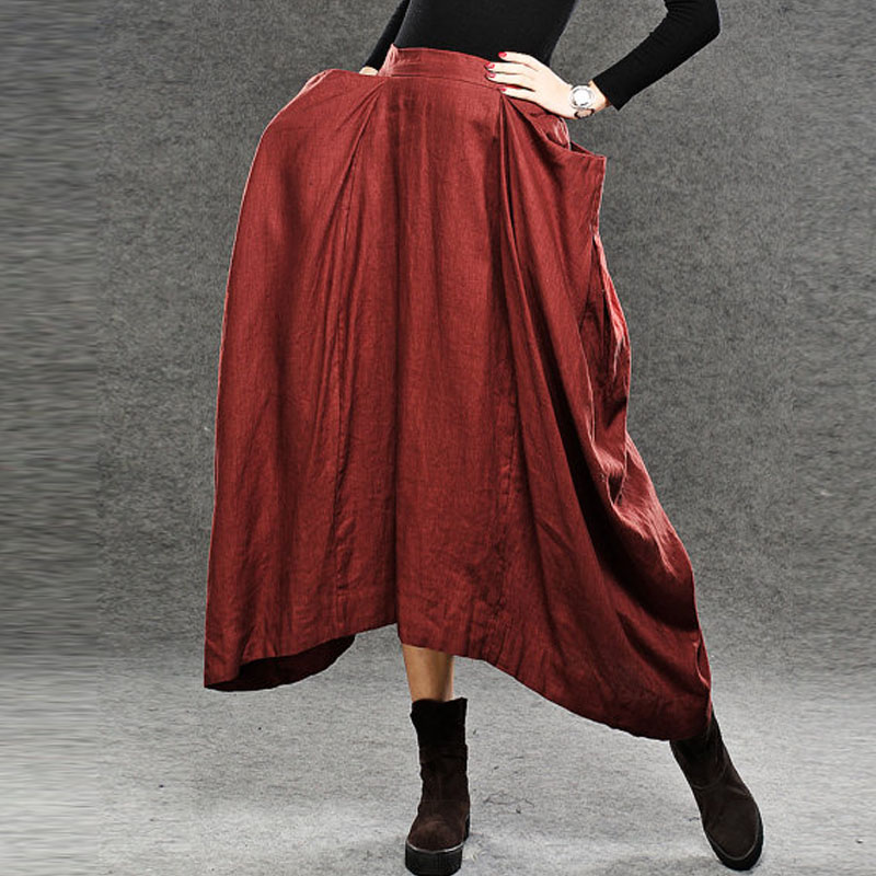 Fashion Zanzea Female Autumn Elastic Waist Big Pockets Asymmetric Hem Floor-Length Skirt ...