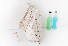 New 2017 Fashion women handbag Casual Women Woven Canvas Bag Cute Cat Shopping Bag Office Lady Lunch Bag Free shipping