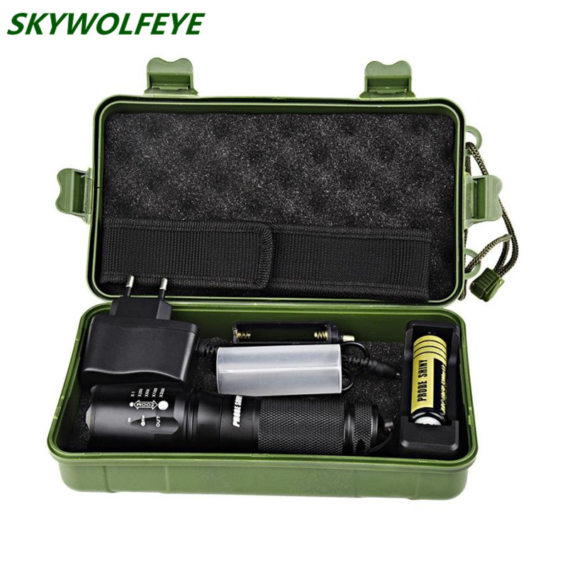 X800 Zoomable XML T6 LED Tactical Police Flashlight+18650 Battery+Charger+Case#NO06