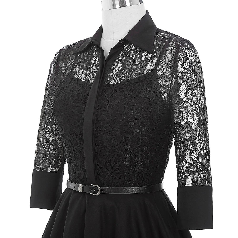 Belle Poque Women Dress Summer 3 4 Sleeve Lace Tunic Work Office 50s  Vintage Dresses Clothes 2018 Black Sexy Club Party Dresses-in Dresses from  Women s ... b5e041e88474