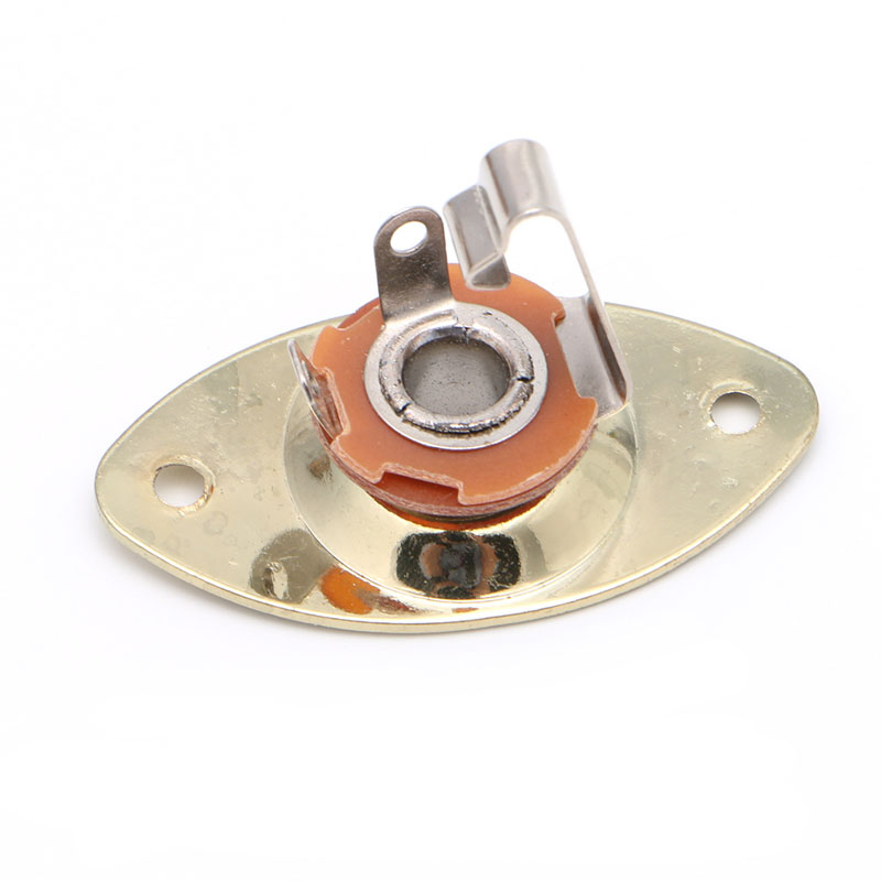 1Pc Chrome Gold Oval Electronic Guitar Output Plate