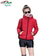 JQNZHNL 2017 Women Hooded Jacket Winter Female Basic Jacket Solid Color Casual Cotton Coat Ladies Parka Wadded Short Outwear E79