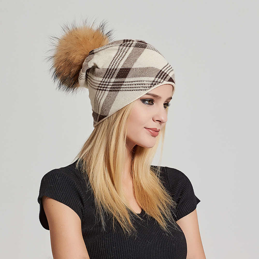 2ae1e914d6b Oversized Cashmere Slouchy Beanie Hat with Puff Real Fur Pompom for Women  Winter Warm Plaid Print