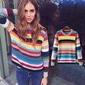 2017 Outono Inverno nova pista mulheres camisola moda rainbow gradiente cashmere combina tricô pulôver feminino Puxar Femme WS-116