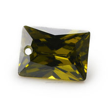 6x8mm AAAAA Rectangle Hole Cubic Zirconia Stones Olive Green Princeses Cut CZ Stone