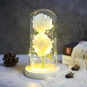 Led Beauty Rose Lamp Romantic Beast Battery Powered Red Flower String Light Desk Lamp Birthday Wedding Lamp Valentine's Day Gift 1