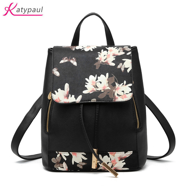 2017 Fashion Brand Women Leather Backpack Girl School Backpack Women Casual  Floral Printing Backpack School Bag For Teenagers a87a508ef08f8
