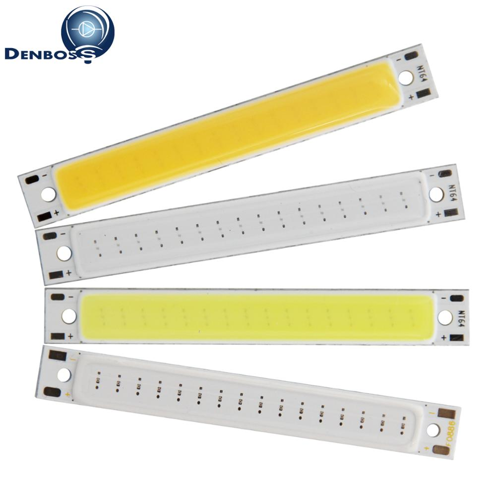 Hot sale DENBOSS manufacturer 60x8mm LED COB Strip for work lamp 1W 3W 2V 3V DC Warm White Blue Red COB LED Light source for DIY diy 3w 270lm 6500k white light flat strip led module 9 10v