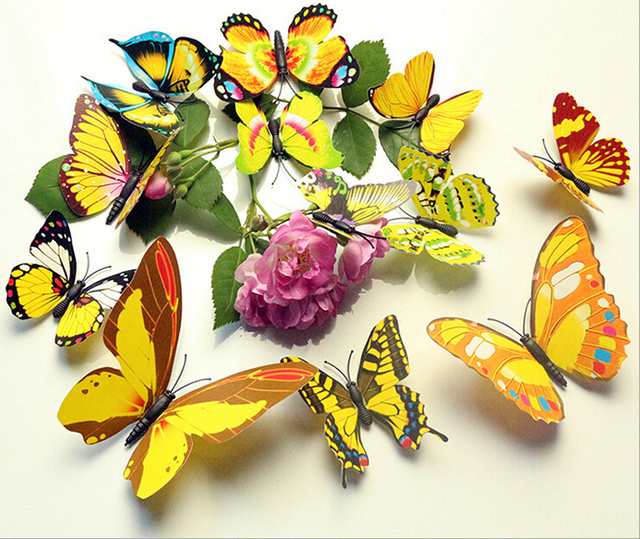 12 Pcs/Lot PVC Butterfly Decals 3D Wall Stickers Home Decor Poster ...