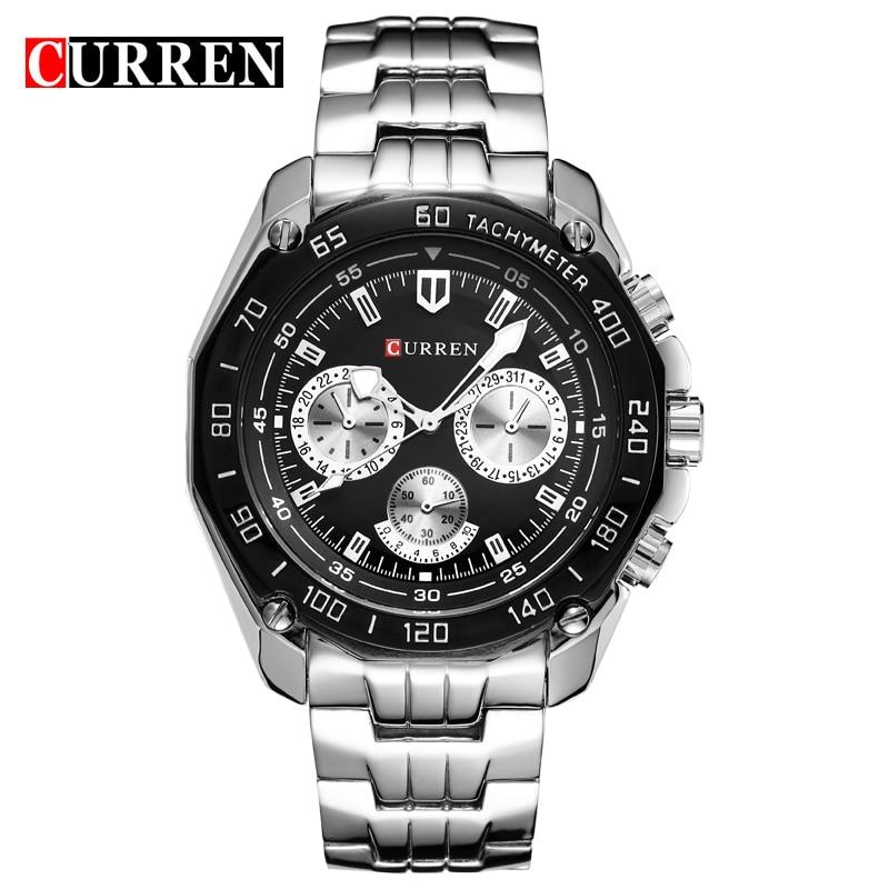 2016 New Fashion Curren Brand Design Sport Steel Clock Quality Steel Military Man Male Luxury Gift Wrist Quart Business Watch