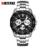 2016 New Fashion Curren Brand Design Sport Steel Clock Quality Steel Military Man Male Luxury Gift