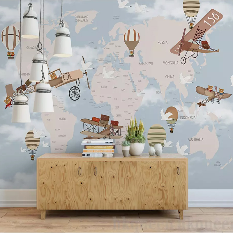 Custom Murals Non-woven Wallpaper Children's Room Background Mural Retro Hand-painted Spaceship Sky Cartoon Theme 3D Wallpaper