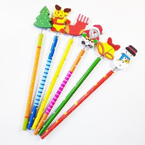 Image 3 - 60 Pcs/lot Merry Christmas Shape wooden Pencils Gift For Children Santa Claus Cartoon Wood Office Stationery School