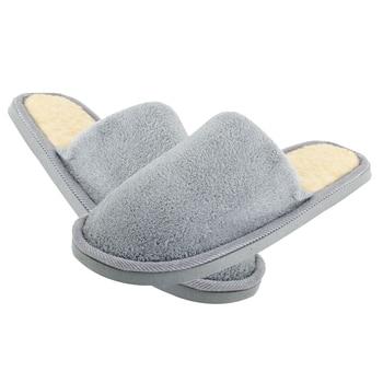 TEXU Men Gray Fleeces Soft Warm Slippers for Feet Length 27 cm Slippers