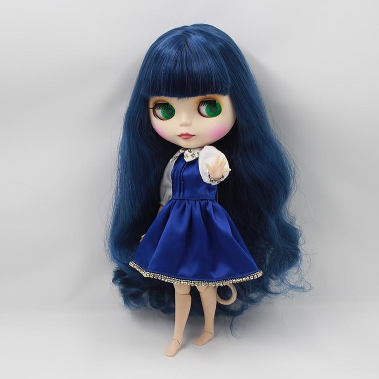 Нео Блайт куклы совместными тела темно-синий длинные волосы с челкой 1/6 bjd куклы diy лица байт куклы для продажа